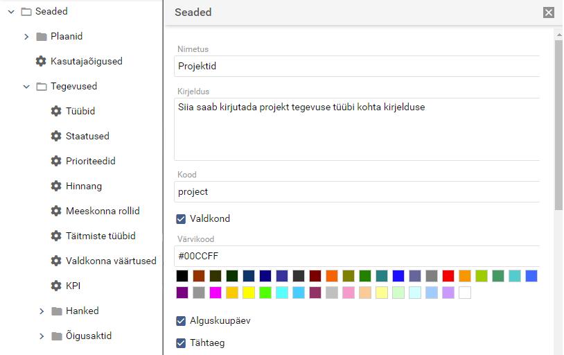 planeerimise tarkvara saab seadistada vastavalt vajadustele